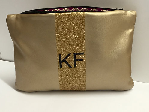 Monogrammed Faux Leather Clutch - Gold
