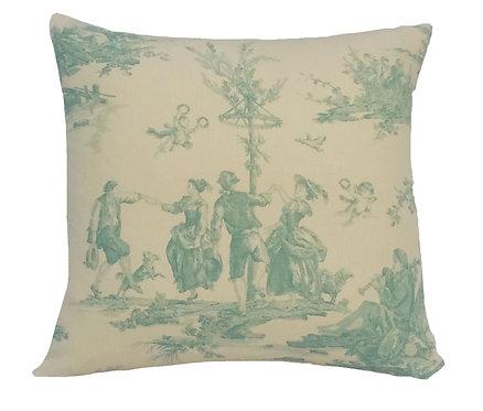 Francesca 18x18 Pillow, Linen/Mint