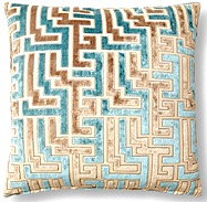 Maze 18x18 Pillow, Teal/Gray