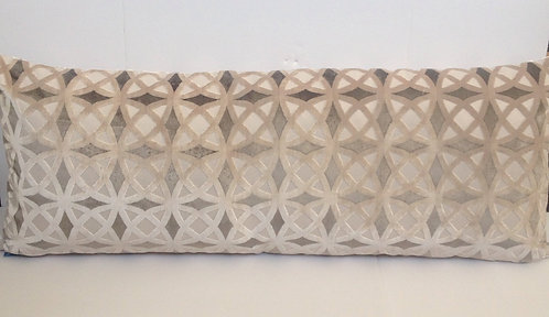 14x56 Silver Geometric Velvet Pillow