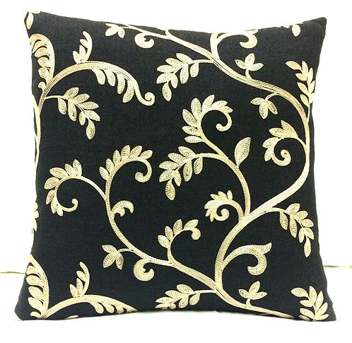 Ender 16x16 Embroidered Pillow, Black/Gold
