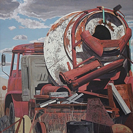 Old cement truck 76 x 76cm acrylic on ca