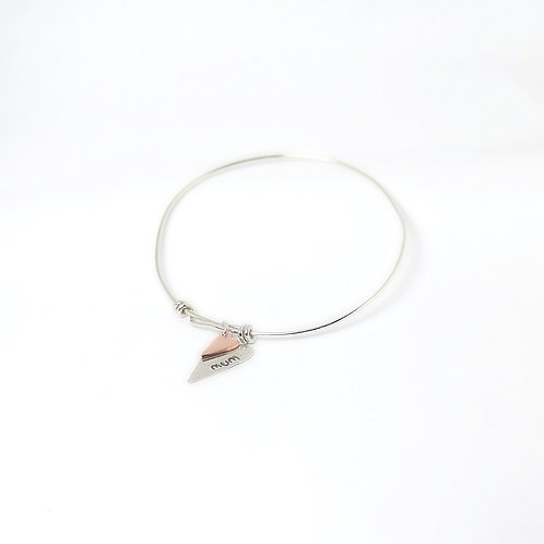 Sterling 925 Silver Adjustable Bangle with Personalised Heart Charms