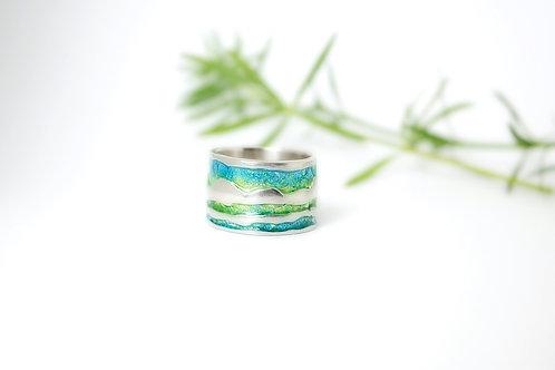 Sterling Silver & Blue Green Enamel Artisan Ring