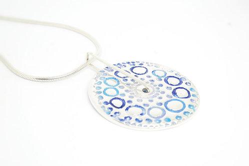 Sterling Silver Blue Circular Spinning Pendant