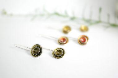 Double Disc Enamelled Drop Earrings