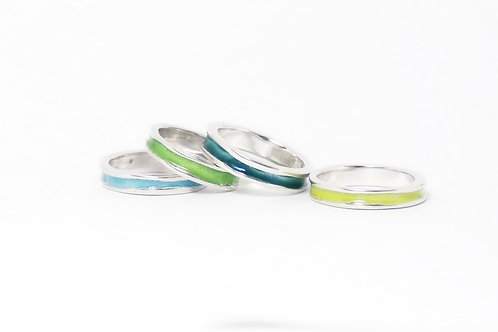 Colourful Stacking Silver Wave Enamel Rings