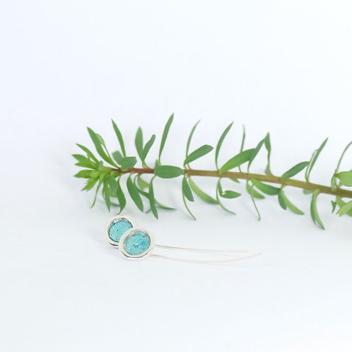 Recycled Sterling Silver Blue Shimmer Drop Earrings