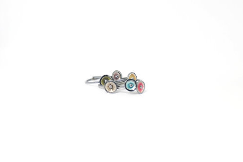 Oxidised Sterling Silver & Enamelled Stacking Rings