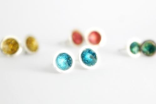 Sterling Silver Shimmer Stud Earrings