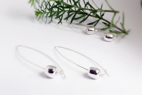 Recycled Sterling Silver Long Drop Contemporary Earrings