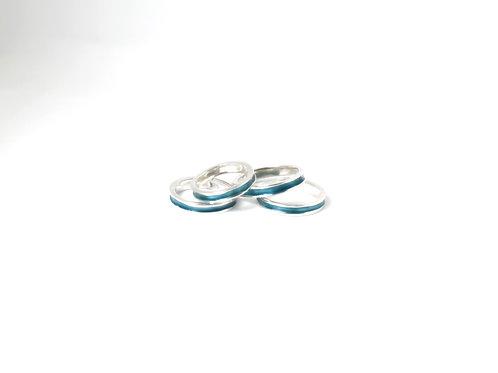 Sterling Blue Glass Enamel Ring