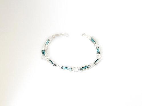 Sterling Silver & Blue Glass Enamel Bracelet