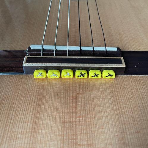 Yellow Classical Flamenco Acoustic Nylon Guitar Bridge Beads String Tie Blocks