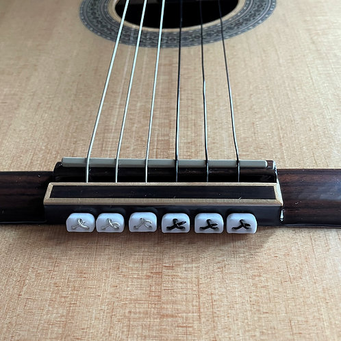 White Classical Flamenco Acoustic Nylon Guitar Bridge Beads String Tie Blocks