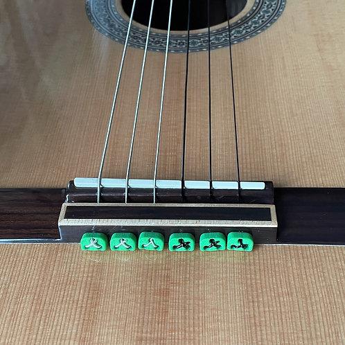 Green Classical Flamenco Acoustic Nylon Guitar Bridge Beads String Tie B