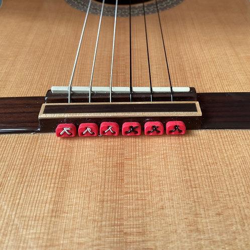 Red Classical Flamenco Acoustic Nylon Guitar Bridge Beads String Tie Blo