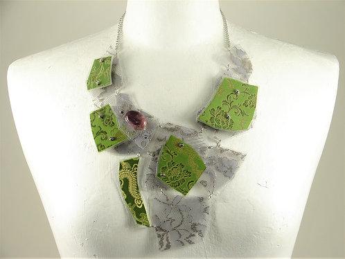 Laminated Fabric Necklace-11