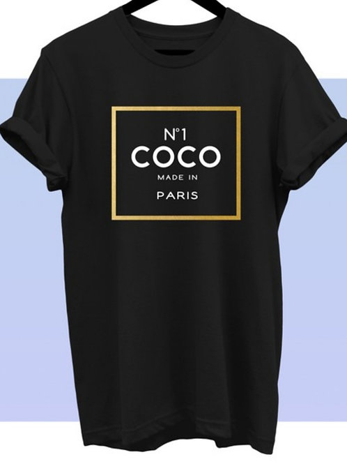 "Sweetheart Tee ""CoCo Chanel Inspired"" (Black Curvy)"