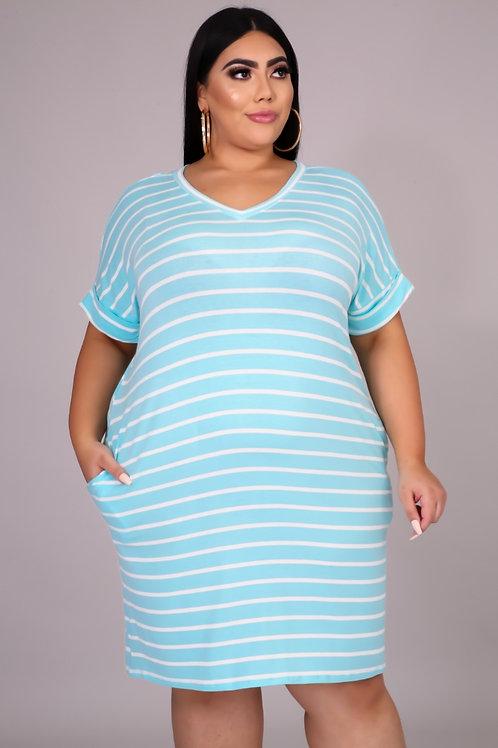 Comfy Tee Dress ~ Blue Mint & Ivory