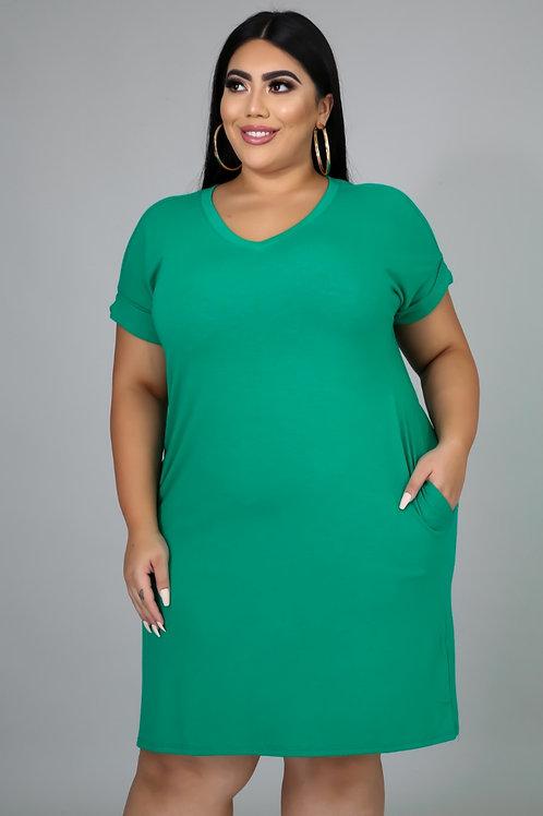 """""""Comfy Tee Shirt Dress"""" ~ Green"""