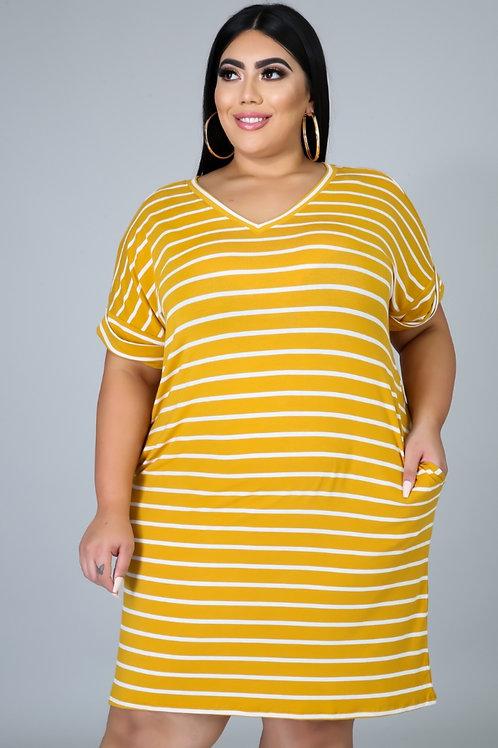 Comfy Tee Shirt Dress ~ Dark Mustard & Ivory