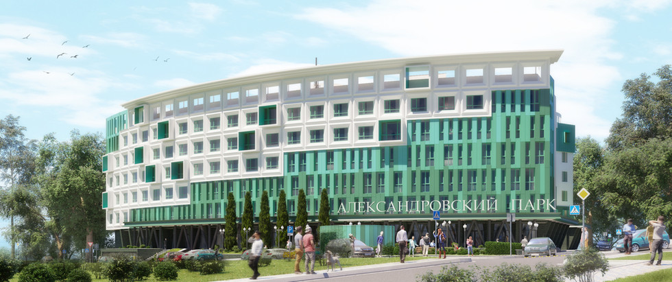 Перспективное изображение со стороны главного фасада