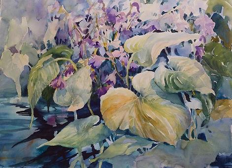 faye henderson, watercolor, hosta