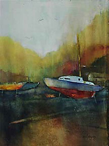 bill kinsey, watercolor, boats at rest
