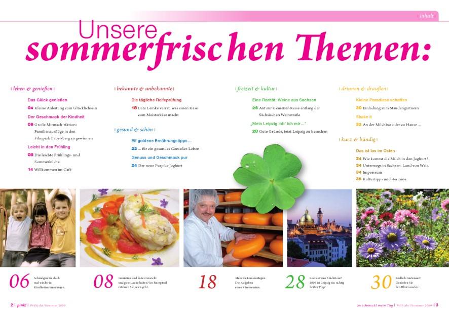 Kundenmagazin 'pink' - Inhalt