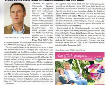 New Business berichtet zum Agenturstart der Kölner Werbeagentur LIEBE DEINE WELT Marketing