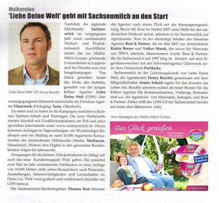 Artikel zum Agenturstart der Werbeagentur LIEBE DEINE WELT Marketing, Köln