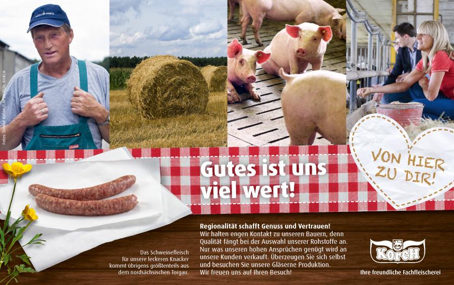 Werbeanzeige der regionalwerbekampagne für die Korch Fachfleischereien