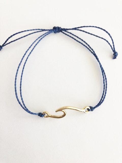 Marin Wave Bracelet - GOLD - navy