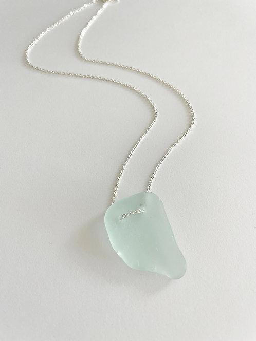 SEAMFOAM #2 Beach Glass Lace Up Necklace - Gold