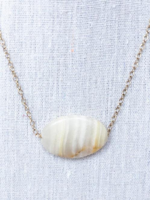 Blonde Jasper Oval Stone Pendant Necklace