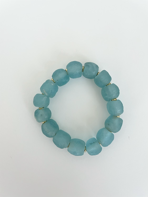 BRIGHT AQUA Recycled Sea Glass Elastic Stack On Bracelet