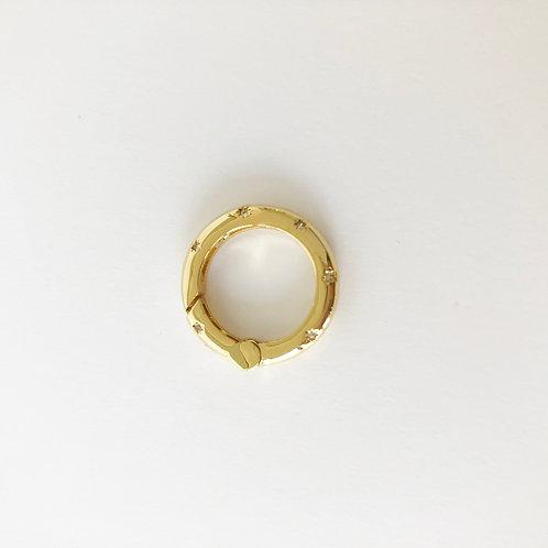 CZ Encrusted Spring Ring Enhancer - Gold