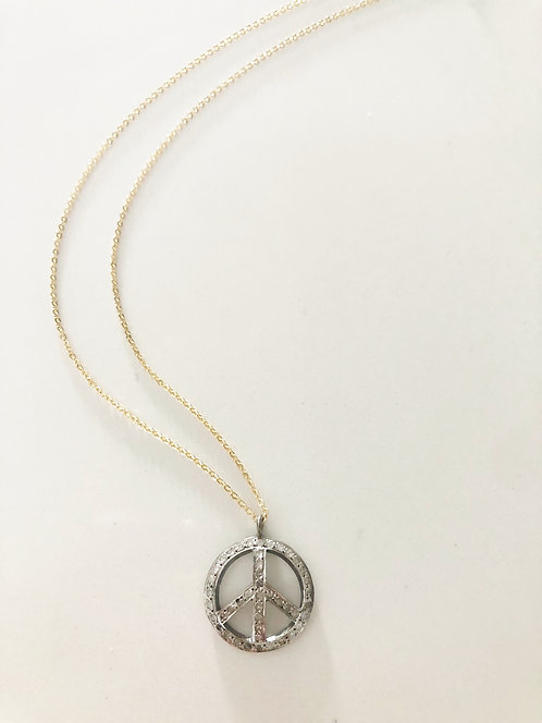 Small Peace Black Diamond Pendant Necklace