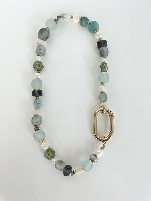 Elcectic Recycled Sea Glass & Pearl Mix Necklace  - Blue