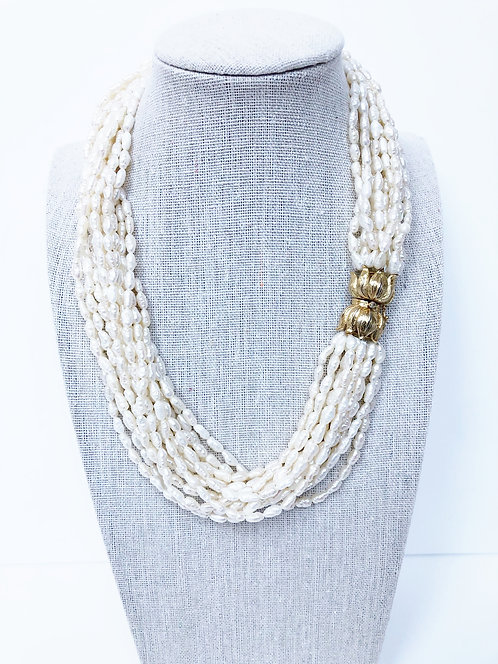 Short Vintage Faux Rice Pearl Multi Strand Necklace