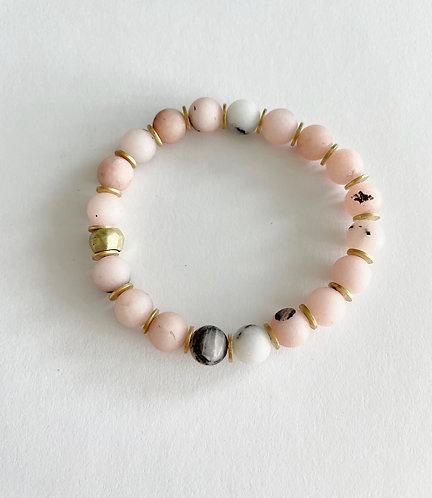 PINK Agate & Gold Stack On  Elastic Bracelet