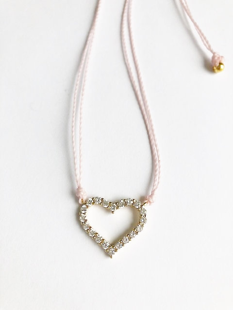 Pave Heart Loop Necklace - Gold/Powder Pink