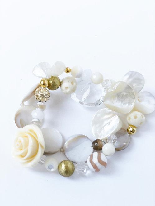 Mixed Bead Bracelet Stack - 2 Elastic Bracelets