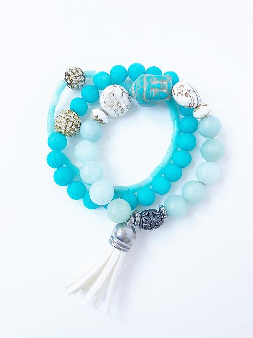 Leather Tassel Elastic Bracelet Trio - Aqua