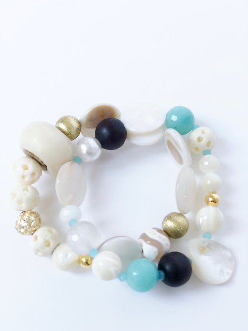 Mixed Bead Bracelet Stack - 2 Elastic Bracelets VS2