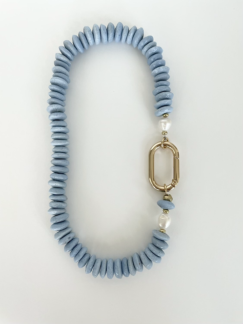 Recycled Sea Glass Necklace - Powder Blue