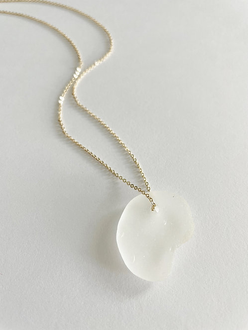 WHITE #1 Beach Glass Lace Up Necklace - Gold