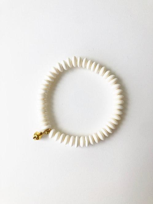 WHITE JAVA DISC Stack On Elastic Bracelet