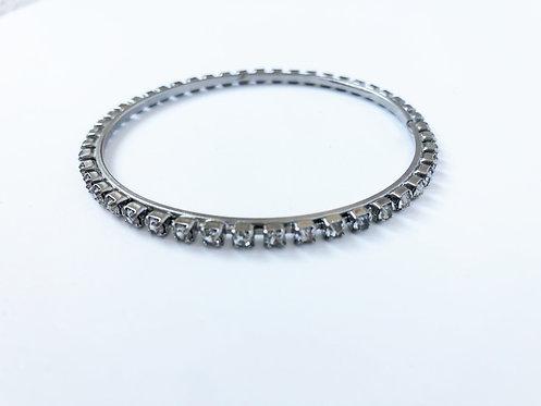 Vintage Rhinestone Bangle - silver